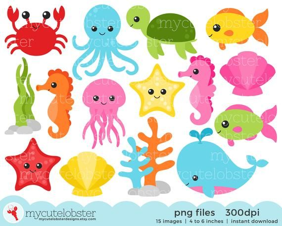 Sea Creatures Clipart Set Sea Animals Clip Art Crab Fish Octopus Turtle Ocean Personal Use Small Commercial Use Instant Download Sea Creatures Clipart Clip Art Animals Clip Art