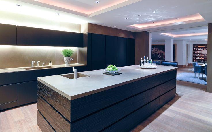 Minotti Gandhara kitchen in lacquer, Gaya Brown stone and Macassar Ebony island drawers.