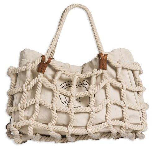 Sonia Rykiel Sac filet en corde de coton écru et détails en cuir