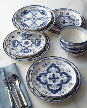 Tile  Dinnerware A variety of hand-painted blue-and-white tile designs gives this dinnerware mix-and-match ambiance.Dishwasher and microwave safe. & 53 best Dinnerware images on Pinterest | Porcelain Casual ...