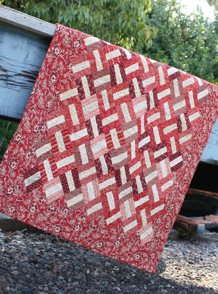 Love this for a signature quilt. 4 different blocks all with white center bar. Two with browns/tans two with pinks