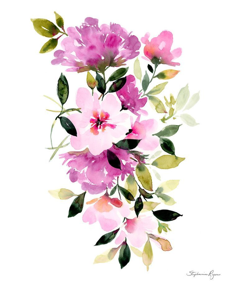 Акварель цветы для открыток