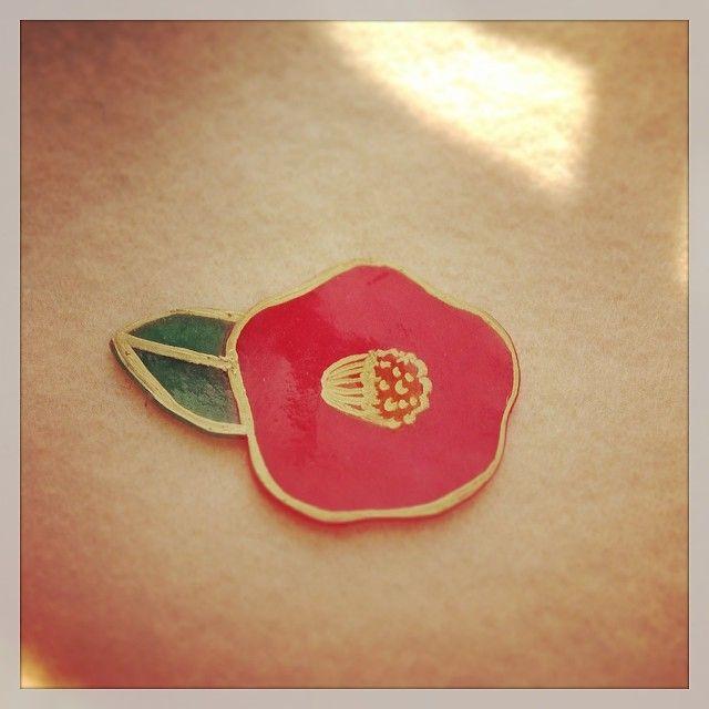 親子向けプラバンワークショップ用サンプル『椿』 #camellia #shrinkplastic #shrinkydinks #プラバン #プラ板