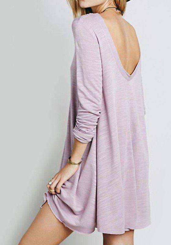 Purple Plain Backless Long Sleeve Casual Mini Dress ...