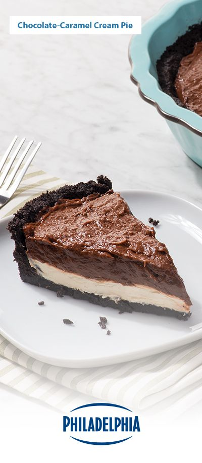 This delectable cream pie dessert tastes even better than it looks. And, it looks pretty darn tasty, so that says a lot! The centre is made with Philadelphia® Light Brick Cream Cheese Spread, caramel ice cream, and Jell-O Chocolate pudding plated on top of an Oreo cookie crust.