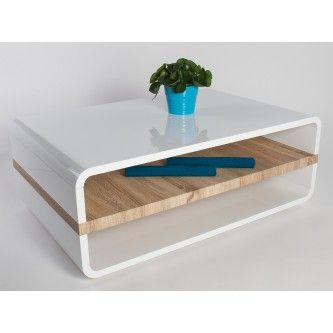 Table basse design blanche laquée et plateau en bois de chêne Emily