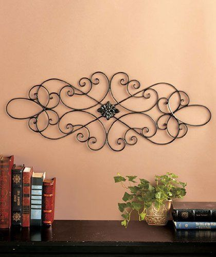 scrolled metal wall medallion oblong by clickmehome. Black Bedroom Furniture Sets. Home Design Ideas