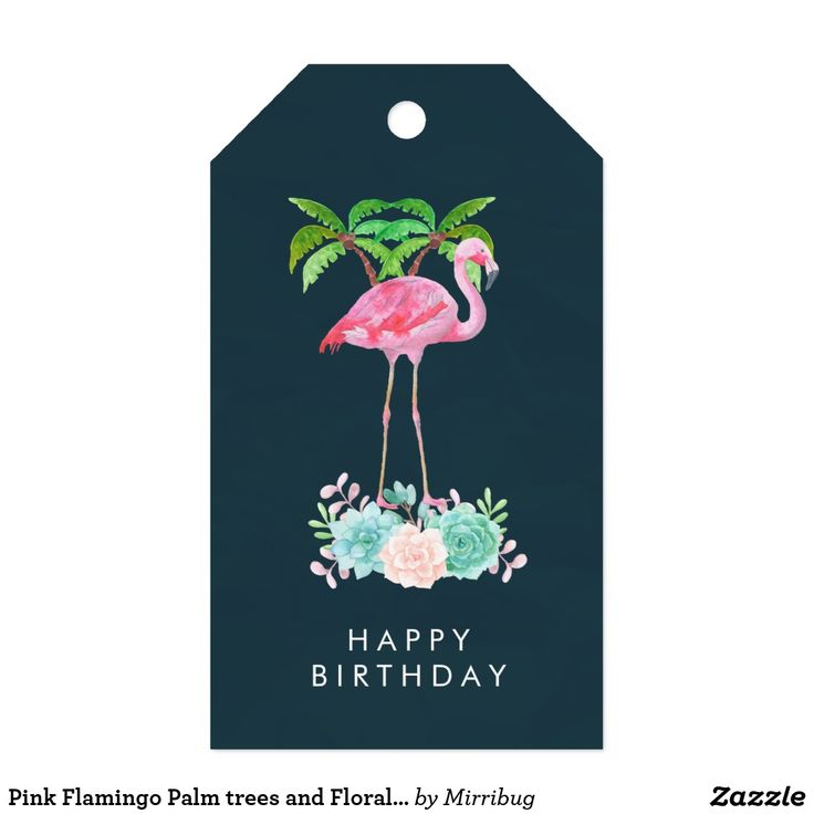 Pink Flamingo Palm trees and Floral Succulents