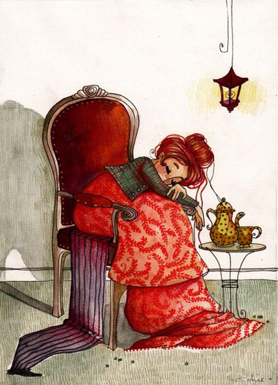 """""""Lucie"""", illustration originale à l'aquarelle. Modèle unique."""