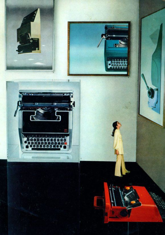 Olivetti Valentine on the foreground of an advertisement for Olivetti Typewriters inc, c. 1969.