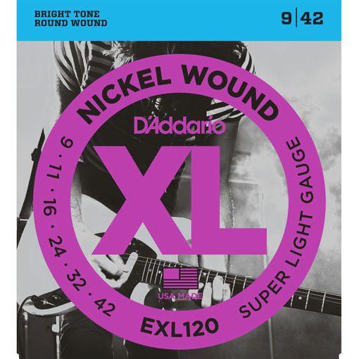 D'Addario EXL120 Nickel Wound Super Light - Jeu de 6 cordes pour guitare électrique. Tirants : 009 - 011 - 016 - 024 - 032 - 042