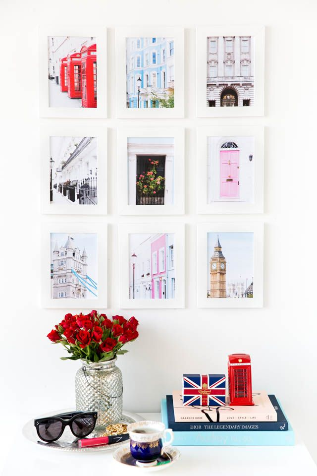 London Print Pack. use post cards instead and then use some cheap frames to put them in.