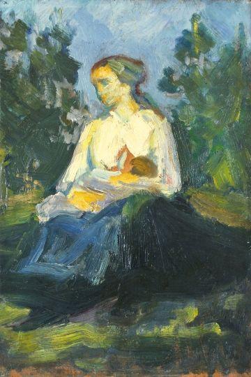 Kernstok Károly (1873-1940) Anya gyermekével Olaj, fa, 29,5x20 cm