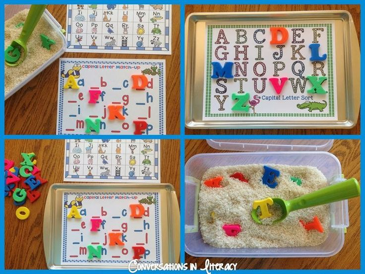 My kids LOVE these Rice Box & Cookie Sheet$ ABC Centers!!
