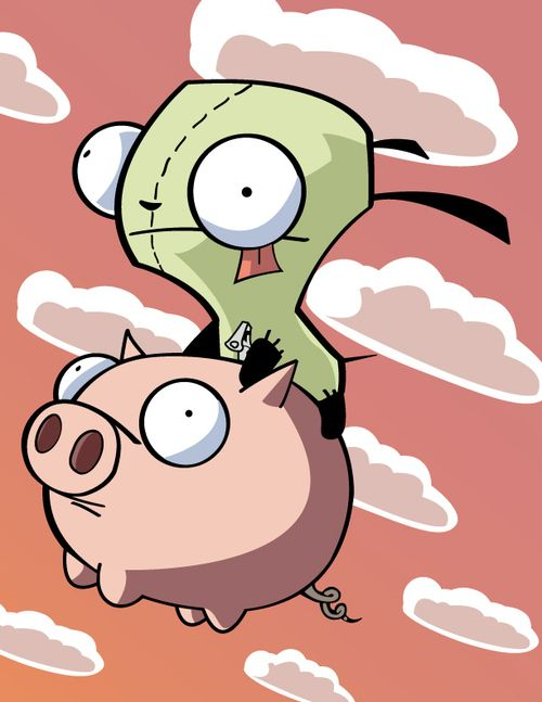 Gir rides piggy. Invader Zim is awesome
