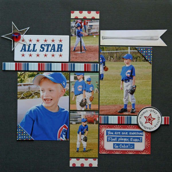 Now that baseball season is over, I need some creative ideas for baseball layouts. Love this one!