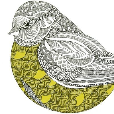 Graphic patterned bird- somehow there must be a way to put this into a machine that does embroidery. Hand work is so slow.