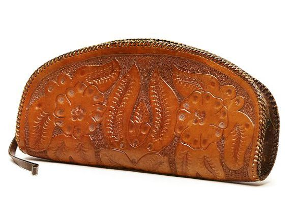 1940s Mexico Tooled leather whipstitch edges zipper closing