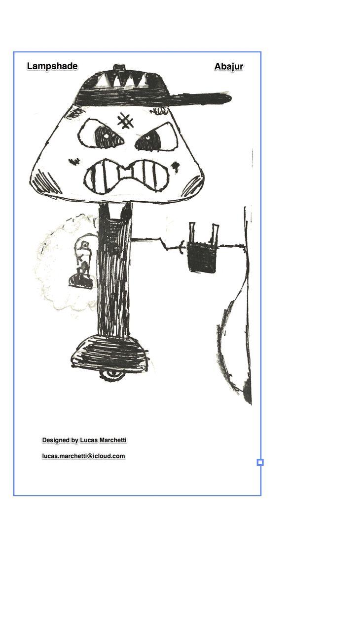Meu filho de 8 anos colocou um boné em um abajur que temos em casa. Achou que ficou legal e decidiu desenhar o que imaginou desse abajur personificado. Veio então esse desenho, com partes no boné, olhos e boca para iluminar. E ainda tem uma mão para segurar/ carregar acessórios da casa, como chaves e celular (pode ser uma dock para carregar). Da outra mão sai o plug para se conectar à energia. Gostaram? Interessados em desenvolver o produto, enviar mensagem. Rsrs...