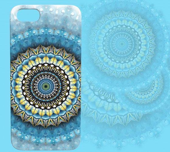 Blue Gold Iris Device Case by Dustin Zane Poole by StudioPhiDesign