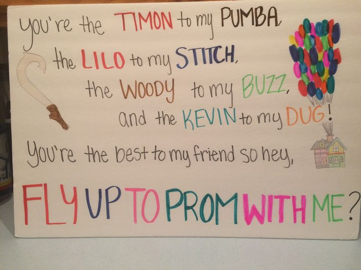 Disney best friend Promposal!  •Up, The Lion King, Lilo & Stitch, Moana, and Toy Story.