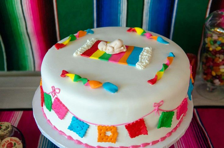 Gender reveal cake. Mexican baby shower