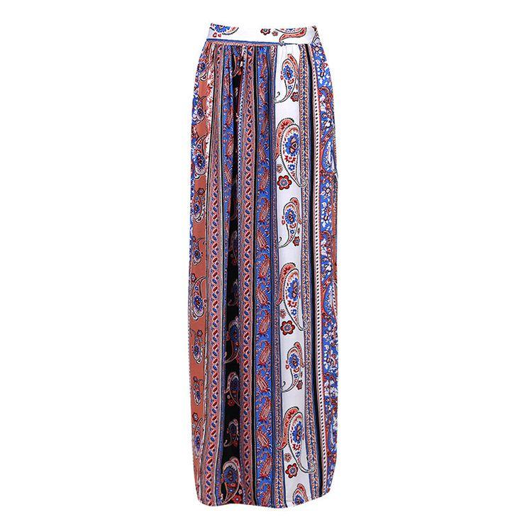 Bohemian Print High Waist Maxi Skirt