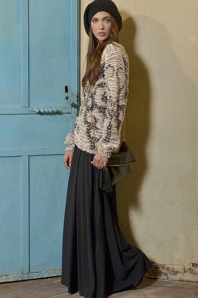 Sarah Lawrence - jacquard sweater with sequins, maxi skirt with pleats.