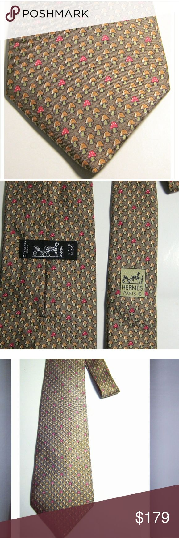 "HERMES 7923 MA Rich Brown Red Mushroom Plant Long HERMES 7923 MA Rich Brown Red Mushroom Plant Long 61"" Authentic 100% Silk Tie Accessories Ties"