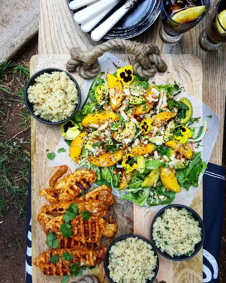 Al-fresco dining is one of the hallmarks of Summer. If you're taking advantage of the weather, make sure the cooking is simple and easy. Pictured: Sriracha orange chicken. Cauliflower rice, braised with onion and cumin. Mixed salad with carrot and beetroot, mango slices dusted with paprika, avocado, cucumber, toasted coconut and honey glazed almond. A drizzle of Mango and Coconut dressing finishes this Summer salad.