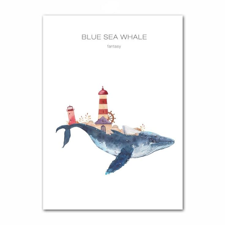 Wall Art -  Watercolor Blue Sea Whale Canvas  Poster