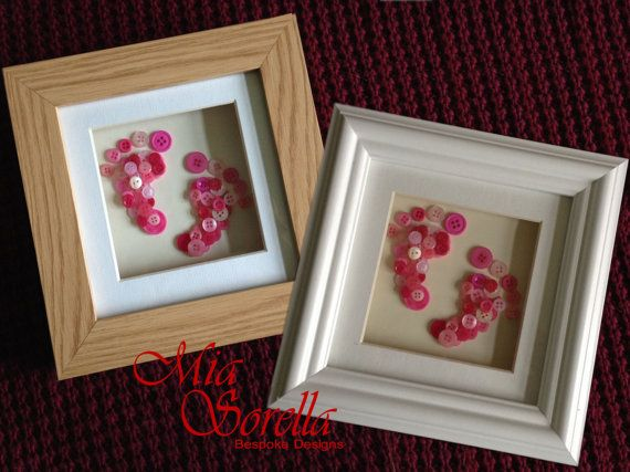 Bespoke Personalised Footprint Button Picture, perfect for baby showers gifts, new babies and birthdays