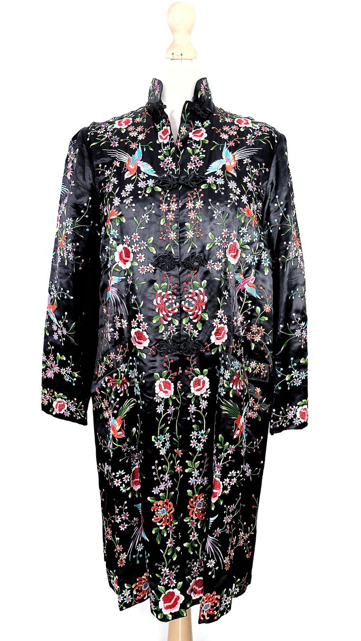 Vintage/antique black chinese silk robe with embroidered colourful flowers and birds