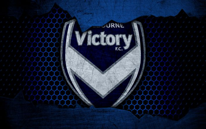 Download wallpapers Melbourne Victory, 4k, logo, A-League, soccer, football club, Australia, grunge, metal texture, Melbourne Victory FC