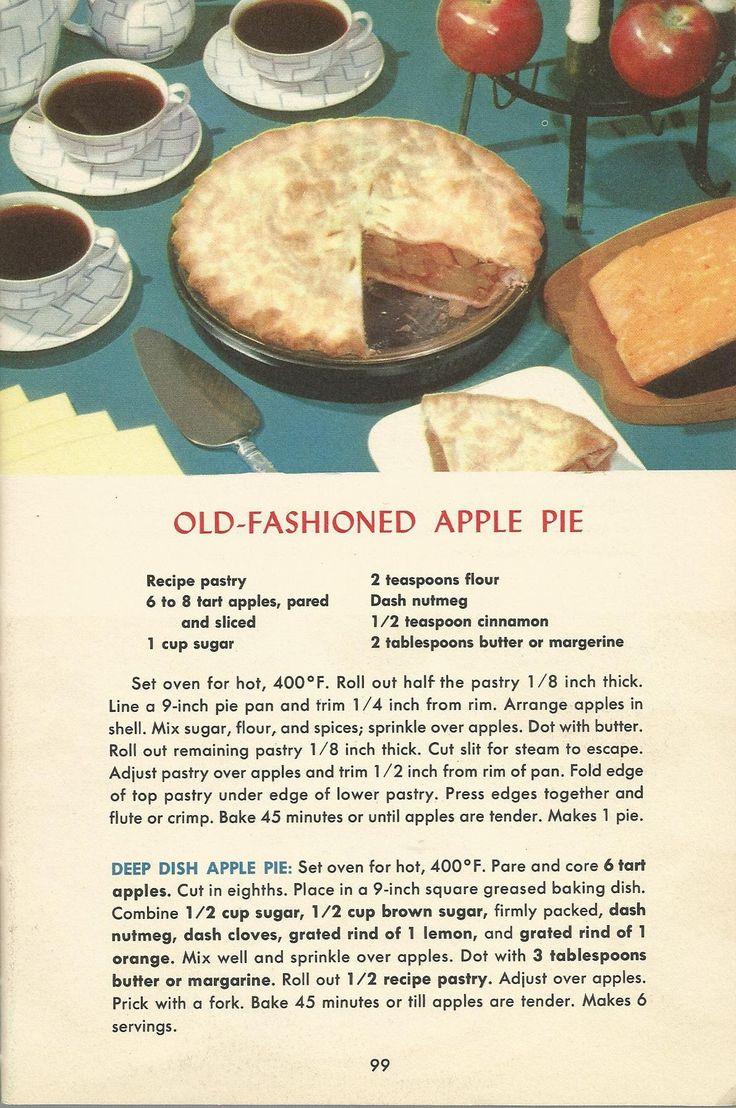 Old Fashioned Apple Pie, Vintage Pie Recipes, 1950s Pie Recipes
