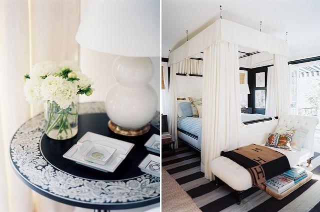 Interior Designer, Mark Sikes', Hollywood home.  Bed set-up.