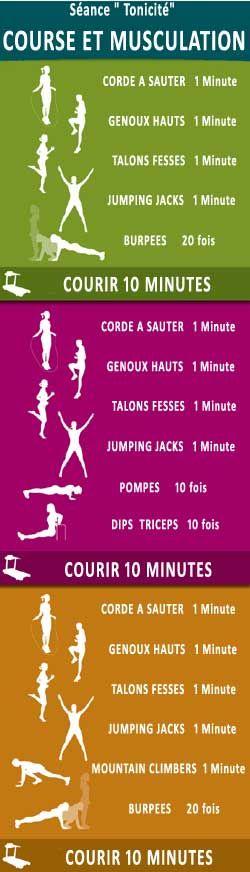 entrainement tonicité (alterner course et exercices)