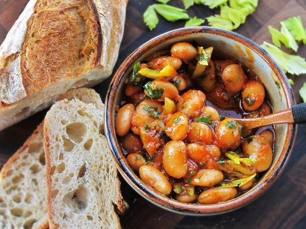 Warm Spanish-Style Giant Bean Salad With Smoked Paprika and Celery Notes: Really delicious. Made full recipe, with dried parsley instead of fresh, 100g dried corona beans and only 2T of olive oil, and 1/2 teaspoon white sugar to balance the acidity.