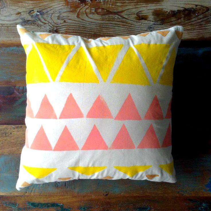 Cushion - Block Printed Cushion - Pillow Cover - Beige Cotton Cushion - Denim - Poly Insert - Yellow & Coral Tribal Cushion 40cm x 40cm by UniqueLulu on Etsy