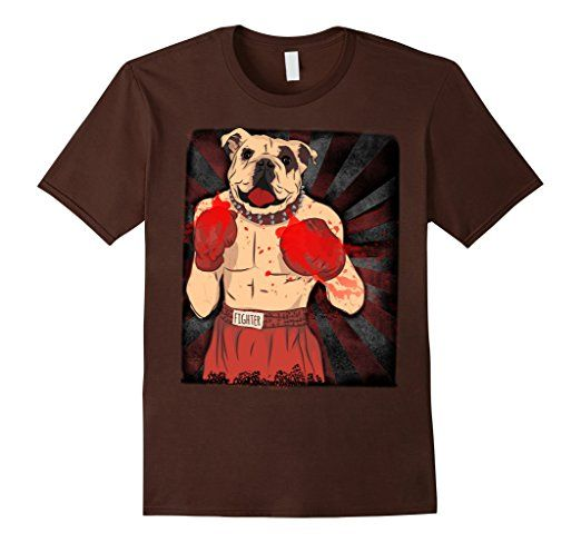 bull dog fighter boxer dog fight tshirt  Brown funny vintage style t shirt