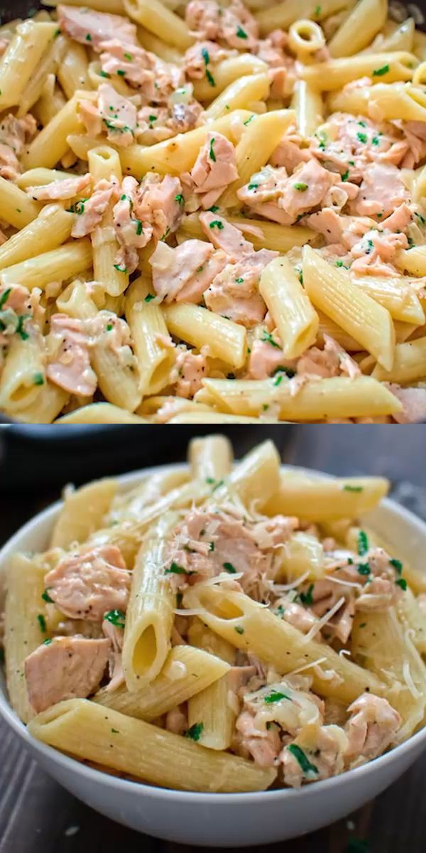 This simple and elegant One Pot Creamy Salmon Pasta makes a quick and filling di…