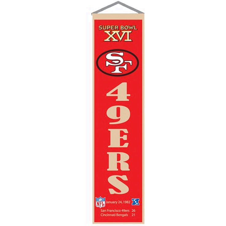 San Francisco 49ers Super Bowl XVI Champions Cadinal Heritage Banner - $29.99