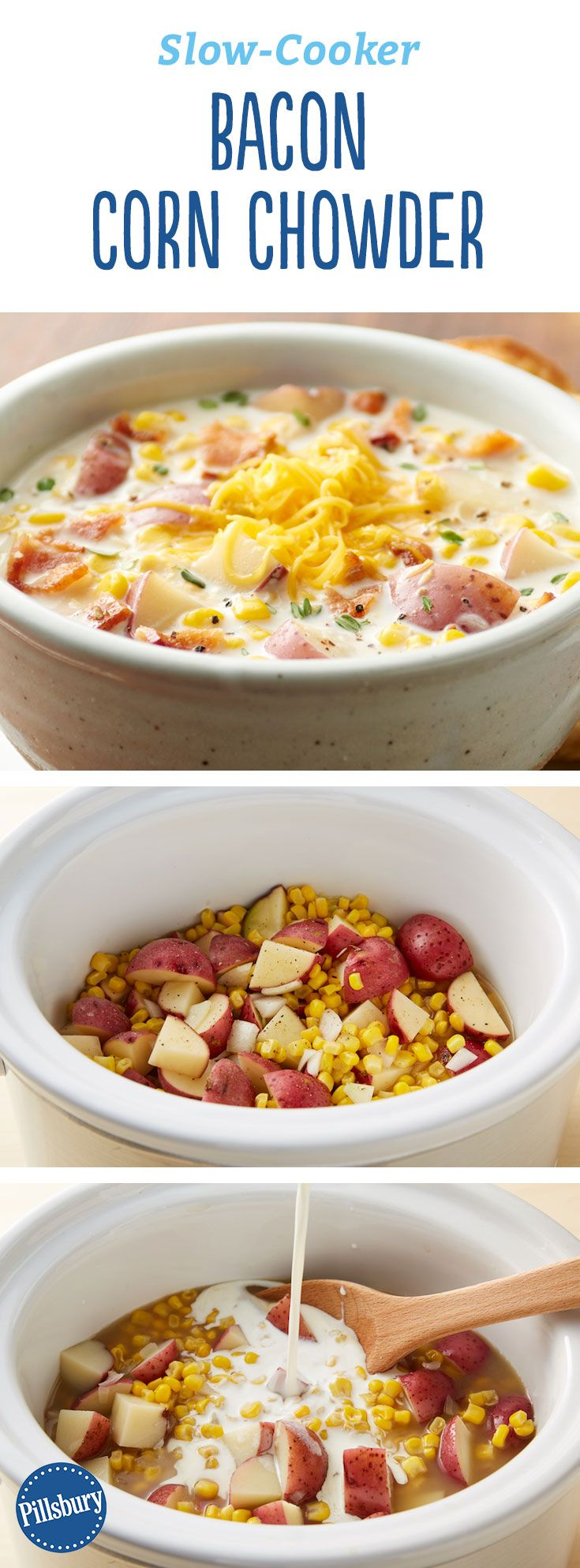 Slow-Cooker Bacon Corn Chowder: Hearty and creamy, this classic corn and potato soup gets extra oomph from our favorite ingredient -- bacon. It only takes a few minutes to pull together, and then the slow cooker will do all the work. (Vegan Potato Soup)