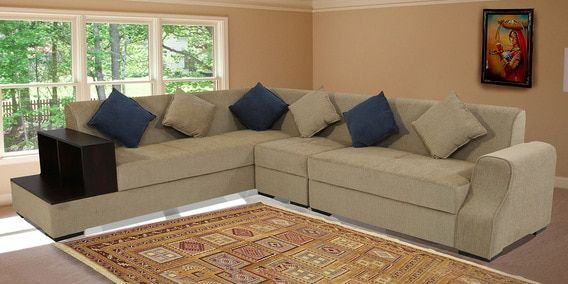 Buy Arlo Rhs Sectional Sofa In Beige Colour By Muebles Casa Online