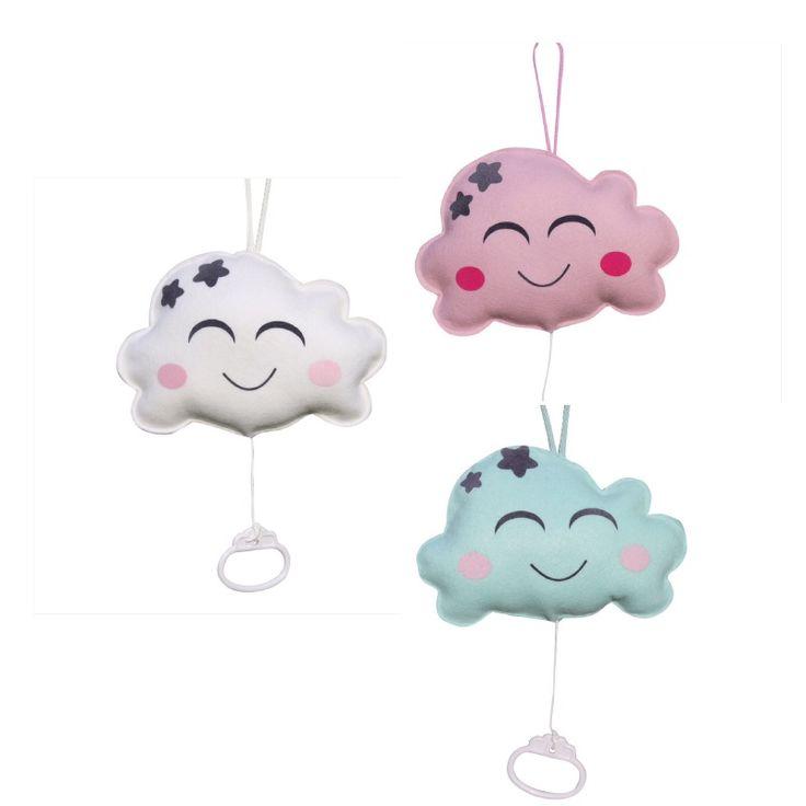 Wolken muziekdoosje in wit, roze of mintgroen babyspeelgoed wolkjes decoratie kinderkamer babykamer baby zwanger kraamcadeau