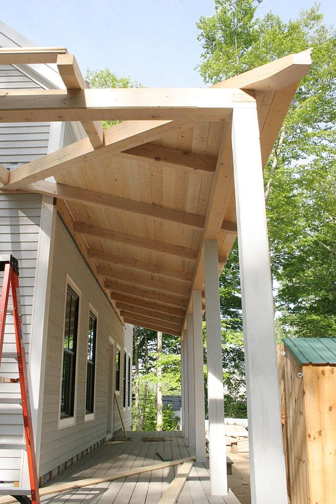 Pine Board Ceiling Half Way Complete On Timber Frame Wrap Around Porch Porch Remodel Backyard Porch Rustic Remodel