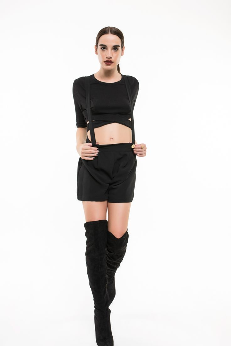 """H-ēra black shorts with straps from FW1516 """"Urban Souls"""" Collection   More @ www.h-era.com"""