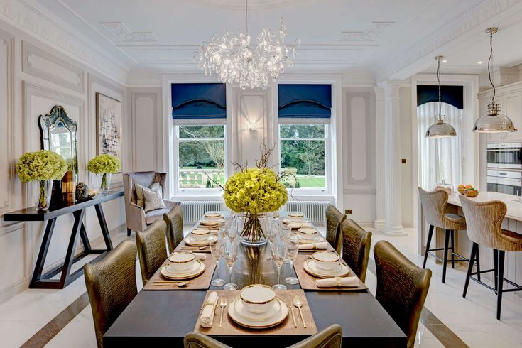 This home has a beautiful palette of sapphire blue and soft greys. The interior of this home complements the Georgian exterior, designed by Alexander James Interiors.