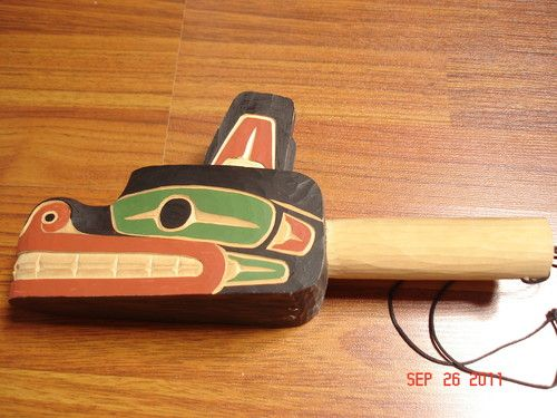 """Bear Rattle"" Authentic Northwest Coast Hand Carved Richard Baker Squamish Band"