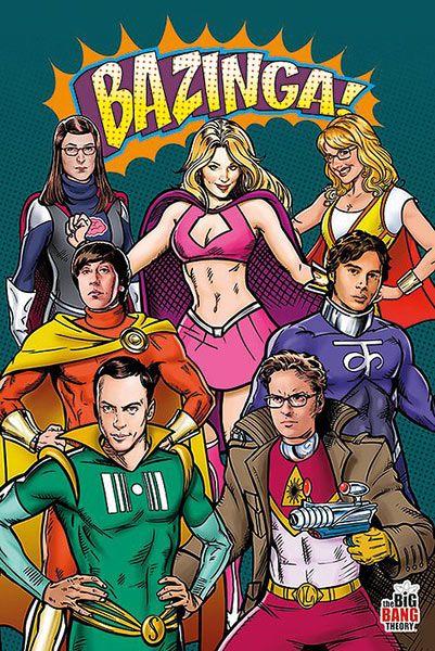 Póster Superheroes. The Big Bang Theory Póster con la imagen de los protagonistas The Big Bang Theory.